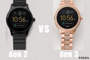 Fossil Gen 2 vs Gen 3 Smartwatches width=