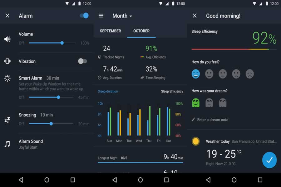 Sleep Better App Screens