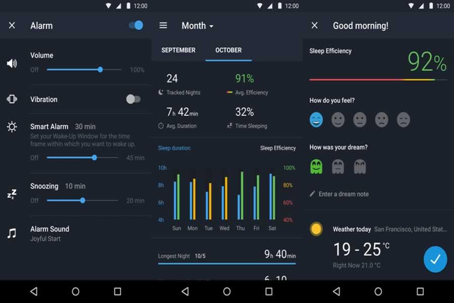 Sleep Better App Screens