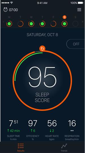 Beddit App's Sleep Score